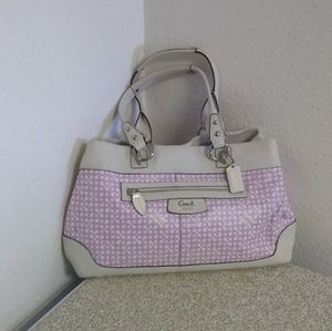 Coach Ivory/Lilac Signature Leather Bag